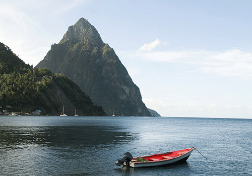 The Pitons as seen from afar