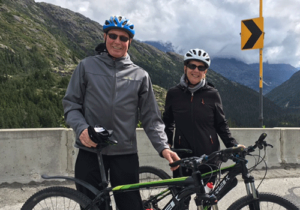 Peter and Lucy biking in Alaska